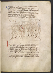 Drawing Of Long-Suffering Being Escorted Unharmed Through An Army By Job, In Prudentius's 'Conflict Of The Soul'